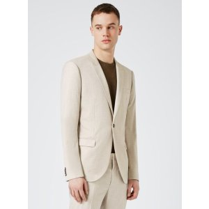 Stone Crosshatch Skinny Fit Suit Jacket - View All Sale - Sale - TOPMAN USA