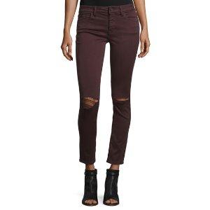 DL1961 Premium Denim Margaux Ripped Skinny Ankle Jeans, Malbec