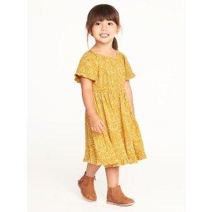 Cinched-Waist Crinkle-Gauze Dress for Toddler Girls