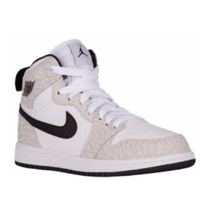 Jordan AJ 1 High - Boys' Preschool - Basketball - Shoes - White/Pure Platinum/Black