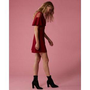 Mesh Short Sleeve Capelet Dress