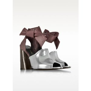 3.1 Phillip Lim Kyoto Silver and Malbec Leather Ankle Knotted Sandal 8 (8 US   5.5 UK   38 EU) at FORZIERI