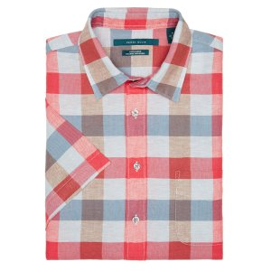 Short Sleeve Plaid Linen Shirt - Perry Ellis