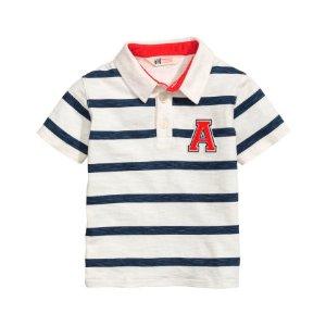 Jersey Polo Shirt | White/dark blue striped | Kids | H&M US