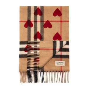 Burberry Heart Print Giant Check Reversible Cashmere Scarf | Bloomingdale's