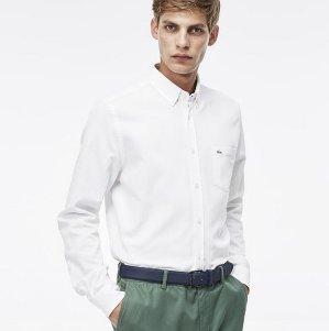 $61.99($125)Lacoste Long Sleeve Mini Pique Woven Shirt