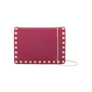 Rockstud Leather Pouch With Chain