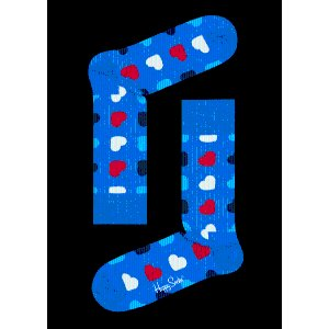 Red & Navy Combed Cotton Sock: Diagonal Heart | Happy Socks