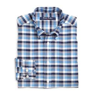 Boys' Blue Multi-Check Cotton Oxford Sport Shirt   Brooks Brothers