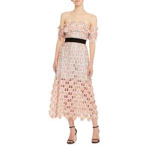 Off-The-Shoulder Guipure Lace Midi Dress   Moda Operandi