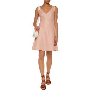 Crochet-paneled cotton and linen-blend mini dress | Sandro | US | THE OUTNET