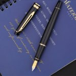 Waterman Expert Gold Trim Fountain Pen, Medium Nib - Black