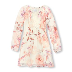 Girls Long Sleeve Floral Print Woven Dress   The Children's Place