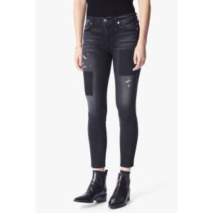 The Ankle Skinny With Clean Patches in Black Shadow - 7FORALLMANKIND