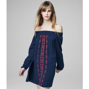 Cape Juby Embroidered Off The Shoulder Dress