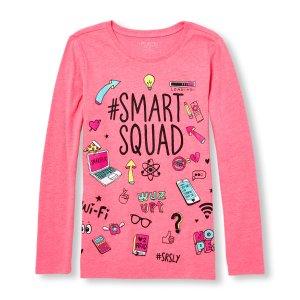 Girls Long Sleeve 'Smart Squad' Doodle Neon Graphic Tee | The Children's Place