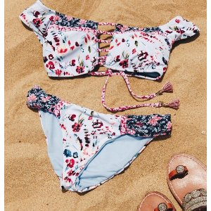 Lucky Brand Gypsy Floral Off-Shoulder Bikini Top   South Moon Under