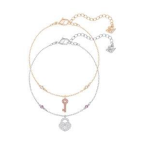 Crystal Wishes Key Bracelet Set, Pink - Jewelry - Swarovski Online Shop