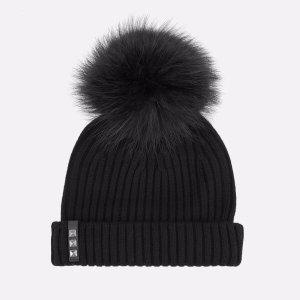 BKLYN Women's Merino Wool Hat with Black Pom Pom - Black