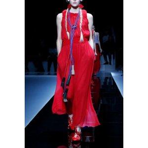 Emporio Armani Women Silk Crepe Ruffle Dress, Silk - Armani.com