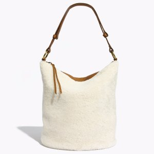 The Lisbon O-Ring Bucket Bag in Shearling