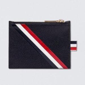 Thom Browne Pebble Grain and Calf Leather Small Coin Purse with RWB Diagonal Stripe | HBX