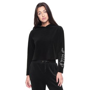JUICY GOTHIC CRYSTAL VELOUR HOODED PULLOVER