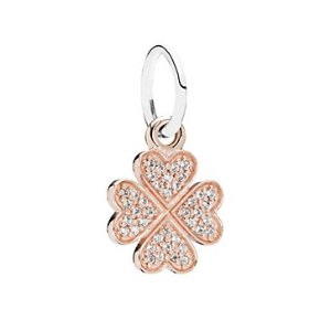 PANDORA Symbol of Lucky in Love 14K Rose Gold Plated & Silver CZ Clover Charm