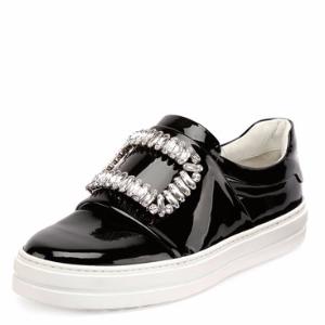 Patent Strass Buckle Sneaker, Black