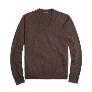 Men's Saxxon Wool V-Neck Sweater | Brooks Brothers