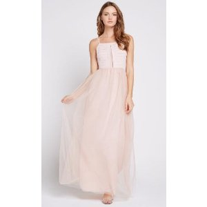 Pleated Bodice Tulle Maxi Dress