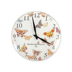 MacKenzie-Childs White Butterfly Garden Clock