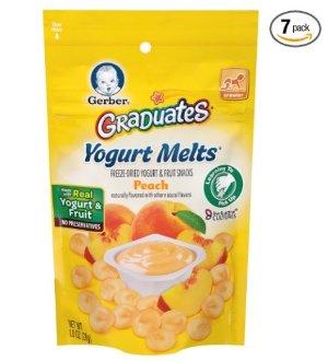 史低价!$11.44仅限会员!Gerber Graduates蜜桃味酸奶溶豆, 1盎司 (7包装)