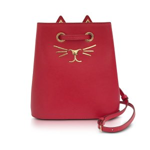 Charlotte Olympia Feline Red Leather Bucket Bag at FORZIERI