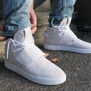 adidas Originals Tubular Invader Strap - Men's - Basketball - Shoes - Crystal White/Crystal White/White