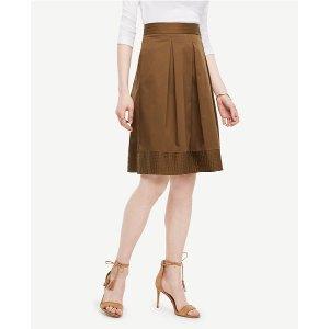 Poplin Pleated Full Skirt