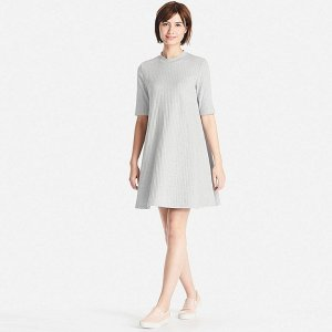 WOMEN RIBBED COTTON FLARE DRESS