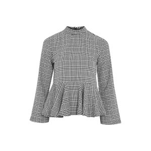 Peplum Hem Checked Blouse - New In Fashion - New In