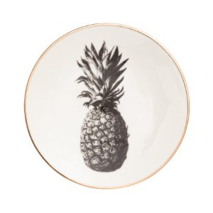 Small Pineapple-motif Plate | White/gold-colored | H&m home | H&M US
