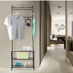 LANGRIA Entryway Garment Rack Storage Bench with Coat Rack, 3-Tiers Shoe Rack and 5-Free Hooks, Black Finish