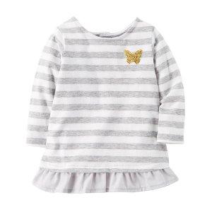 Ruffle-Hem Striped Shirt