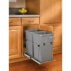 Rev-A-Shelf 19.25 in. H x 11.81 in. W x 22.25 in. D Double 27 Qt. Pull-Out Silver and Chrome Waste Container-RV-15KD-17C S - The Home Depot
