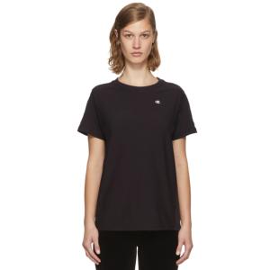 Champion Reverse Weave: Black Small Logo T-Shirt | SSENSE