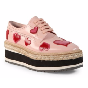 Prada - Heart Leather Brogue Platform Oxfords - saks.com