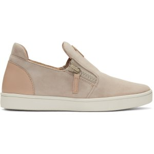 Giuseppe Zanotti: Pink Suede London Slip-On Sneakers
