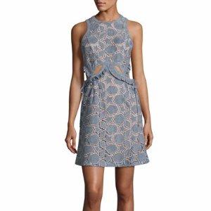 Self-Portrait Cutwork Star SUEDE? Mini Dress, Blue