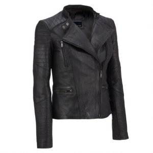 Wilsons Leather Asymmetrical Lamb Moto Jacket w/ Quilting Details - View All - Women's & Plus Size - Wilsons Leather