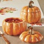 Better Homes and Gardens Set of 2 Orange Pumpkin Lidded Soup Bowls