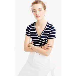 Linen stripe vneck tee : t-shirts & tank tops