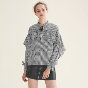 LOSSI Striped blouse with frills